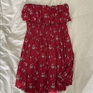 small strapless red floral american eagle dress